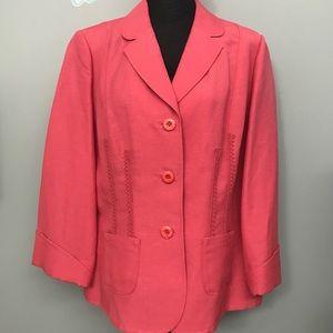 Emma James Linen 3/4 Sleeve Blazer Sz 14